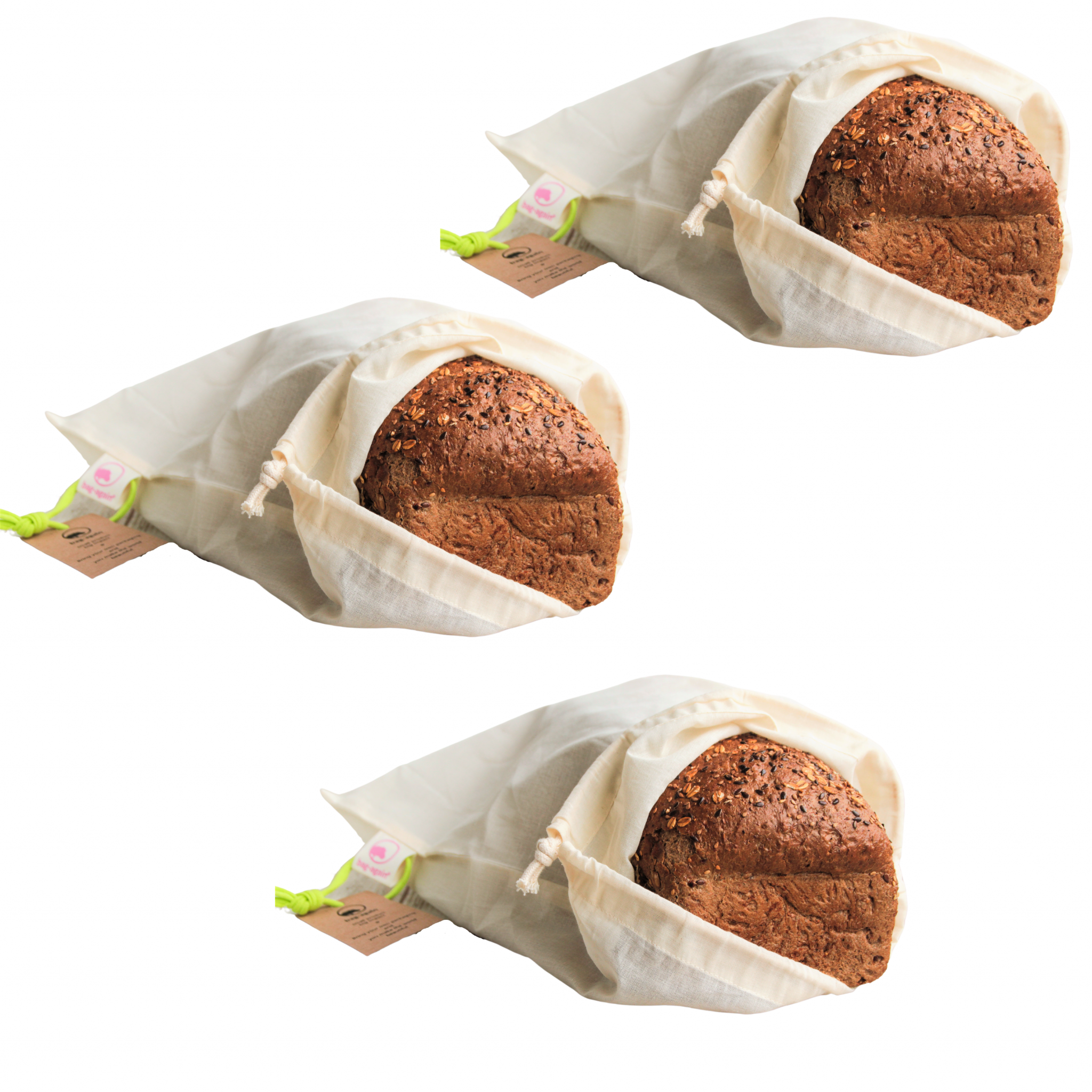 3 x bag-again breadbag S katoenen broodzak zero waste webshop