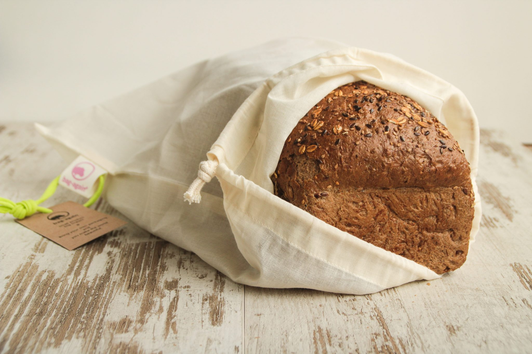 broodzak S onbedrukt, breadbag, organic cotton, biologisch katoen, bag-again, zero waste shop, webshop