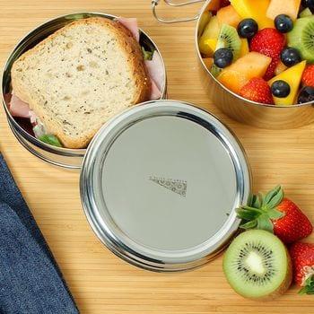 ronde rvs lunch box, bag-again, to go, plastic free, zero waste