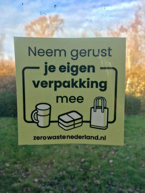 raamsticker Bag-again zerowastenederland