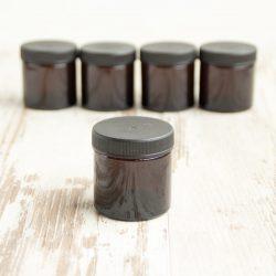 bruin glazen potje 30 ml, 60 ml bag-again zero waste webshop