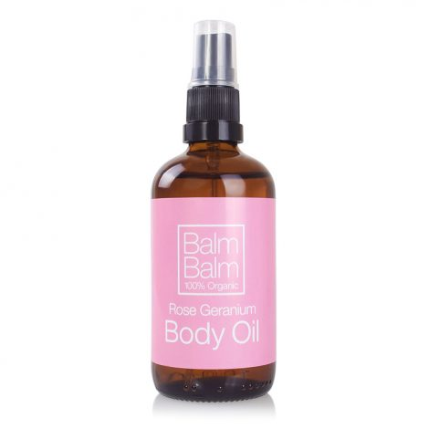 balm balm body oil geranium, biologisch in glas Bag-again zero waste webshop